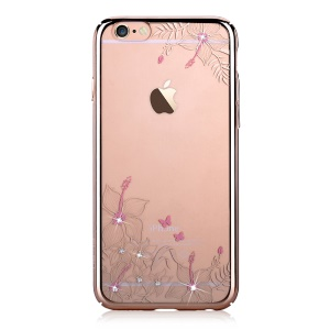 DEVIA Crystal Plating PC Hard Cover for iPhone 6 6s - Beautiful Flowers and Butterflies
