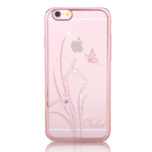 KINGXBAR Swarovski Rose Gold Plating PC Shell for iPhone 6s 6 - Butterfly and Flower