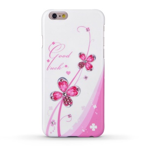 KINGXBAR Swarovski Romantic Girl Hard Phone Case for iPhone 6s / 6 - Pink Four-leaf Clover