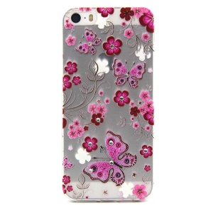 Embossing Pink Flower and Butterfly TPU Cover for iPhone 5 / 5s with Decorated Crystals