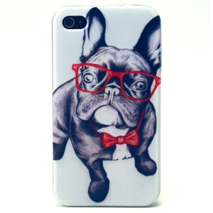 Cute Dog with Glasses TPU Back Case for iPhone 4s 4