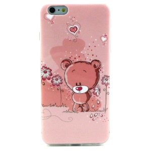 Soft IMD TPU Gel Case for iPhone 6 - Flowers and Bear