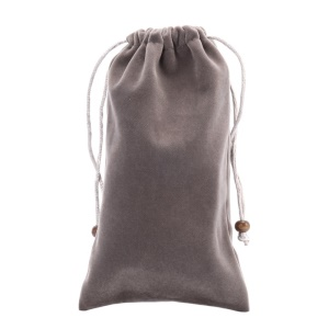Universal Soft Velvet Pouch Case with Drawstring for iPhone 8 Plus/7 Plus/ Galaxy Note 8 / S9+/S9 Etc - Grey