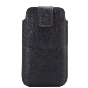 Lychee Texture for iPhone 6 Plus/Samsung Galaxy Note 4 Waist Leather Pouch w/ Card Holder - Black