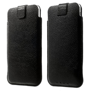 Pull Tab Genuine Leather Pouch for iPhone 7 Plus /6s Plus/ Galaxy S7 edge, Size: 16 x 9cm - Black