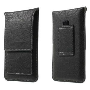 Card Holder Leather Pouch Case with Belt Loop for iPhone 7 6 6s 4.7 inch, Size: 140 x 78mm - Black