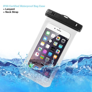 V1 Waterproof Cover Bag with Strap for iPhone 6 6s 4.7-inch, 75mm x 150mm - White