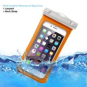 V1 Waterproof Shell Bag with Strap for iPhone 6 6s 4.7-inch, 75mm x 150mm - Orange