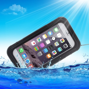 Waterproof Dustproof PC Silicone Case for iPhone 6 Plus / 6s Plus with Kickstand - Black