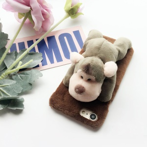 3D Cute Soft Plush Toy Stand PC Phone Case for iPhone 6s 6 4.7 inch - Monkey