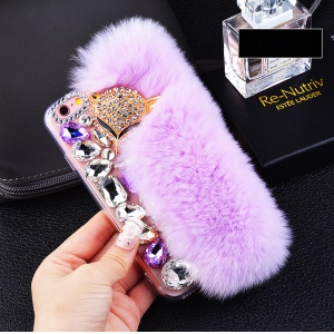 Pretty Furry Soft Silicone Back Mobile Phone Case with Rhinestone Decor for iPhone 6s Plus/6 Plus - Light Purple