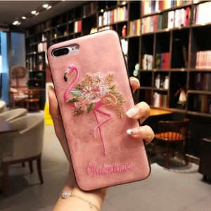 For iPhone 8 / 7 4.7 inch Valentine Embroidery Case Leather Coated TPU Cover - Flowered Flamingo