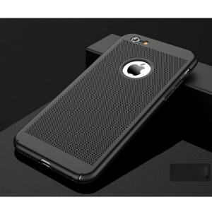 For iPhone 6s / 6 4.7 inch Hollow Mesh Heat Dissipation Matte PC Hard Cover  - Black