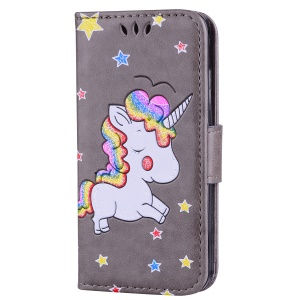 Flash Powder Unicorn Pattern PU Leather Flip Stand Phone Cover for iPhone SE / 5S / 5 - Grey