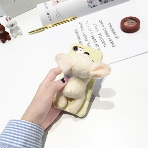 Lovely 3D Fluffy Plush TPU Phone Cover for iPhone 6s Plus / 6 Plus - Beige Chihuahua