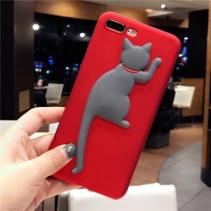 Cute Cat Patterned 3D Silicone Phone Shell with Kickstand for iPhone 6s Plus / 6 Plus 5.5 inch - Red / Grey Cat
