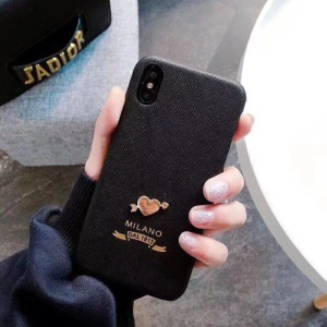 Cloth Texture PC Hard Protective Back Case for iPhone X -  Black