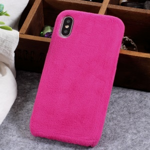 Fluffy Fur Coated TPU Back Phone Casing for iPhone X - Rose