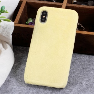 Fluffy Fur Coated TPU Phone Case for iPhone X - Light Yellow