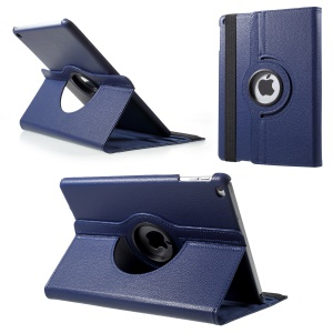 Litchi Skin Leather Shell with Rotating Stand for iPad Pro 12.9 (2017) / Pro 12.9 (2015) - Blue