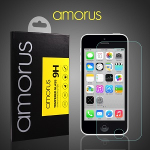 AMORUS Screen Tempered Glass Protector 9H for iPhone 5c Rounded Edge