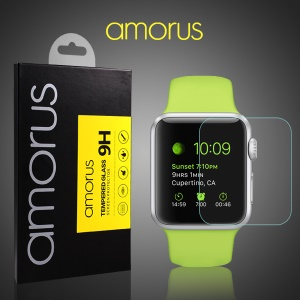 0.33mm Tempered Glass Screen Protector for Apple Watch 42mm Anti-explosion Arc Edge