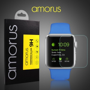 0.33mm Tempered Glass Screen Guard for Apple Watch 38mm Anti-explosion Arc Edge