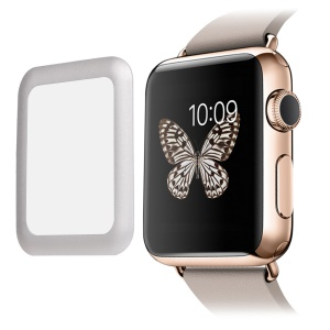 LINK DREAM 0.2mm Tempered Glass Screen Film for Apple Watch 38mm Full Coverage - Silver