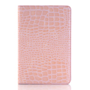 Crocodile Skin Leather Cover Stand Card Holder for iPad mini 4 - Pink