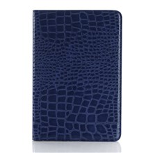 Crocodile Texture Leather Cover with Wallet Slots for iPad mini 4 - Blue