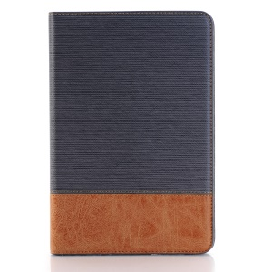 Cross Texture Contrast Color for iPad mini 4 Leather Cover Wallet Case - Grey