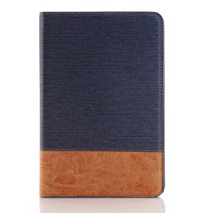 Cross Texture Contrast Color for iPad mini 4 Leather Cover Stand Case - Dark Blue
