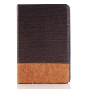 Cross Texture Contrast Color for iPad mini 4 Leather Case Card Holder - Coffee