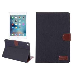 Jeans Cloth Skin Smart Leather Wallet Stand Cover for iPad mini 4 - Black Blue
