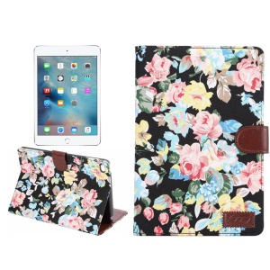 Flores Pele de pele Smart Leather Wallet Case para iPad mini 4 - Fundo preto