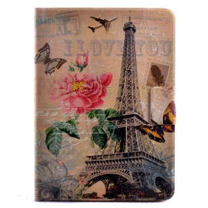 Flip PU Leather Card Holder Fragrant Case for Samsung Galaxy Tab S2 9.7 T810 T815 - Eiffel Tower and Flower