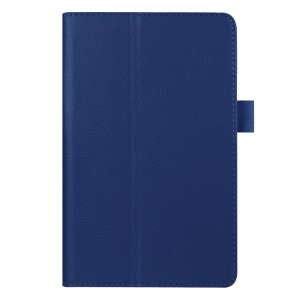 Litchi Texture PU Leather Stand Cover for Amazon Fire 7 - Dark Blue