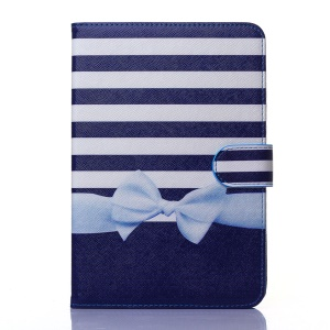 Flip Wallet Stand Leather Case for iPad Mini 1 2 3 - Horizontal Stripes and Bowknot