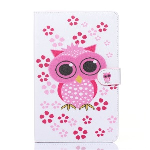 Flip Leather Wallet Stand Cover pour Samsung Galaxy Tab E 9.6 T560 - Hibou adorable