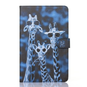 Flip Leather Wallet Stand Shell for Samsung Galaxy Tab E 9.6 T560 - Cool Giraffe