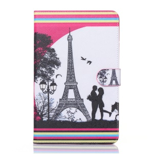 Flip Leather Wallet Stand Cover Case for Samsung Galaxy Tab E 9.6 T560 - Eiffel Tower and Lovers