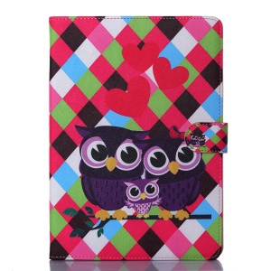 Wallet Leather Stand Case for iPad Air - Happy Owl Family