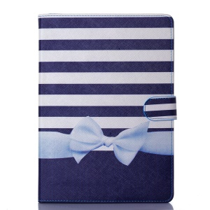 Wallet Leather Stand Case Cover for iPad Air - Stripes and Bowknot