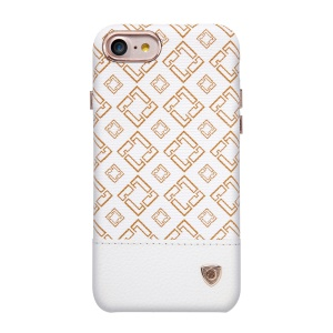 NILLKIN Oger Lattice Leather Coated Hard Cover for iPhone 7 - White