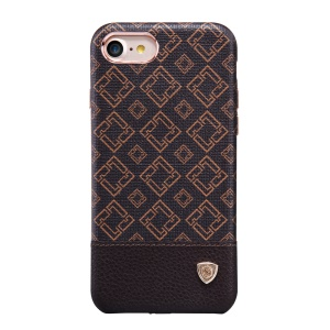 NILLKIN Oger for iPhone 7 Lattice Leather Coated Hard Shell - Ivory White