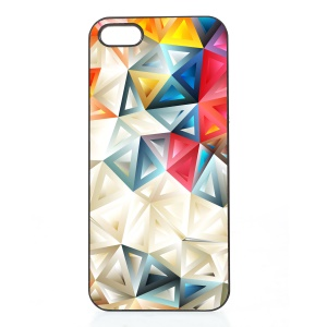 2D Heat Transfer Printing Aluminum Sheet Skin PC Hard Case for iPhone SE/5s/5 - Colored Triangles