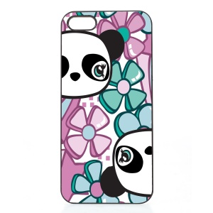 2D Heat Transfer Printing Aluminum Sheet Skin Hard Shell Cover for iPhone SE/5s/5 - Pandas and Flowers