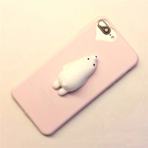 3D Pinch Kneading Polar Bear Soft TPU Squishy Case for iPhone 6s Plus / 6 Plus - Pink