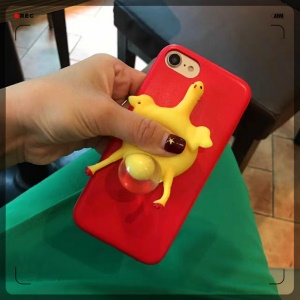 Funny Finger Pinch Chicken Lay Egg Squishy Soft TPU Case Cover for iPhone 8 / 7 4.7 inch - Red