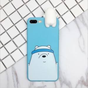 Cute Cartoon Pattern TPU Back Case with 3D Doll Figure for iPhone 8 Plus / 7 Plus 5.5 inch - Polar Bear